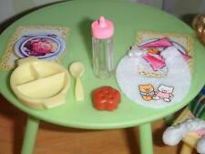 Barbie Little Krissy Yellow Feeding Set Bear Bib fits Fisher Price Loving Family