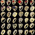 White Topaz Gemstone Wedding Ring Women 18k Gold Filled Jewelry Gift Size 7-10