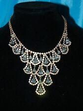Vtg Aurora Borealis AB Rhinestone Crystal Collar Festoon Bib Necklace EVC Unsign