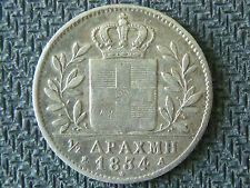 GREECE GREEK COIN  SILVER  1/2  Drachme   Othon  1834
