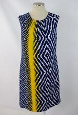 ILE Silky Blue Tie Dye Print Tunic Panel Sleeveless Midi Shift Dress Womens 12