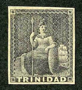 Trinidad SG10 (1d) Dark Grey on white Paper (toned) Cat 55 pounds