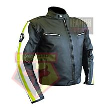 BMW 3874 MOTORBIKE FLUORESCENT COWHIDE LEATHER MOTORCYCLE BIKERS ARMOURED JACKET