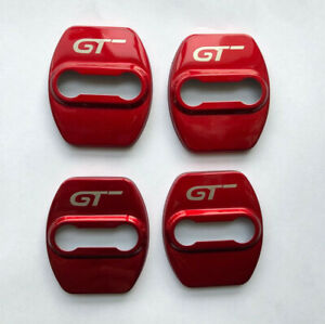 Red Car Accessories Stainless Steel Door Lock Protector Cover For