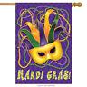 """Mardi Gras House Flag Mask Beads Holiday 28"""" x 40"""" Briarwood Lane"""