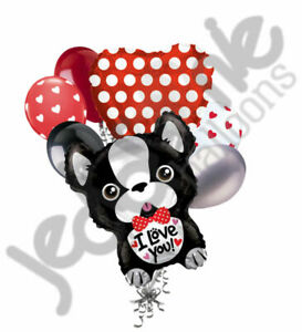 7 pc French Bulldog Love Happy Valentines Day Heart Balloon Bouquet Be Mine Kiss