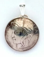 Italy 100 Lire Woman Portrait Domed Coin Pendant Necklace Italian Jewelry Charm