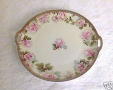 """Ohme Old Ivory Silesia Rose Handled Cake Plate Porcelain 10"""" Floral, Rose Plate"""