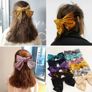 Women Girl Big Large Bow Velvet Hairpin Hair Clip Barrettes Hair Accessories