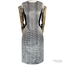 Jason Wu Elegant Grey Black Snake-Print Silk Hourglass Illusion Dress US8 UK12
