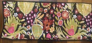 "Pottery Barn Modern Floral Print Lumbar Pillow Cover 33"" Black Multicolor Zipper"