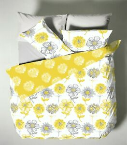 Catherine Lansfield Banbury Yellow Grey Multi Floral Duvet Cover Set REVERSIBLE