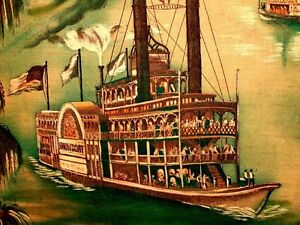 Steam Boats River Cruise RARE VINTAGE Millworth Converting Corp Art Print Fabric