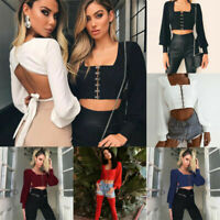 Women Sexy Off Shoulder Lace-up Crop Tops Long Sleeve Corset Casual Blouse Shirt