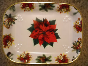 """LARGE OBLONG CHRISTMAS POINSETTIA SERVING TRAY 16.5"""" X 12.5"""""""