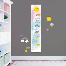 Cute Weather Sun Clouds  Custom Measuring Height Growth Chart + 8 Wall Stickers