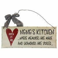 """Nana's Kitchen Open 24 hrs Wood Decorative Plaque Gifts for Grandparents10""""x 4"""""""