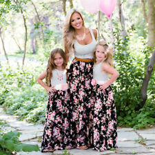 Mother and Daughter Matching Floral Dress Womens Girls Long Maxi Dresses Clothes