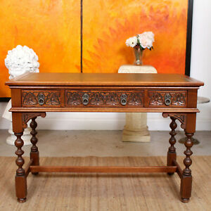 Oak Desk Old Charm Leather Writing Table Carved