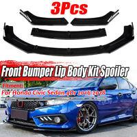Gloss Black Front Bumper Lip Spoiler Splitter For Honda Civic Sedan