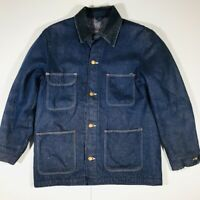 Vintage 70s Prision Work Crew Style Wrangler Blue Denim Wool Chore Coat Sz Large