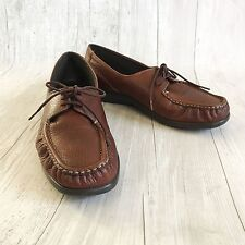 SAS Comfort Moccasin Loafers Shoes Women sz 9.5 M Brown Leather Handcrafted USA