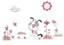 Puppy Dog Wall Decal 3D Sticker Mural Childs Bedroom Nursery Pink & Gray Flowers