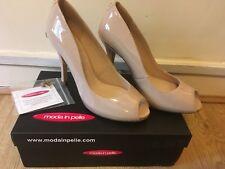 BNIB Moda In Pelle Women's Nude Patent Peep Toe Court Shoe UK 7