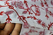 Cotton Sewing Indian Hand Block Print Organic Fabric Material 2.5 Yard Floral