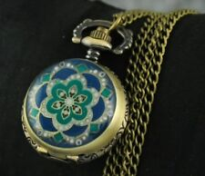 Retro Bronze Enamel Flower Quartz Pocket Watch Steampunk Necklace Pendant #GR