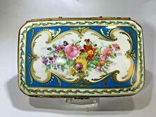 Antique CP France Porcelain Hand Painted Large Floral Trinket Box