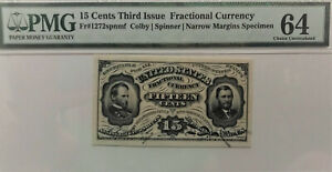 15 Cent Third Issue Fr. 1272 Colby Spinner Sherman Grant PMG 64