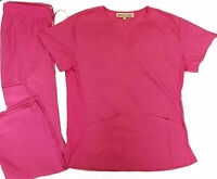 Nursing Solid Scrub Set Top with stretch panels and Pant 6 Pockets Set XS-2X NWT