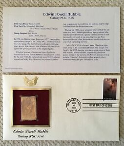Edwin Powell Hubble Galaxy NGC 1316 First Day Issue 22k Gold Foil FDC
