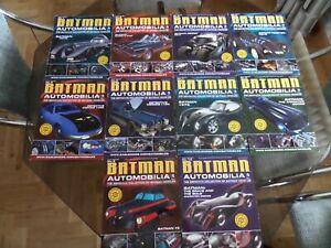 LOT OF 10 BATMAN AUTOMOBILIA EAGLE MOSS MODELS AND MAGAZINES No  1-9 + 14