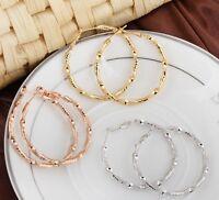Women's Hoops Earrings 18K Gold Filled Fashion Jewelry 40mm Hot
