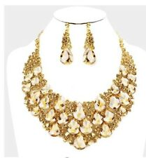 Light Brown Gold Topaz Jewelry Set Crystal Rhinestone Necklace Earrings Wedding
