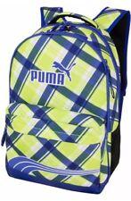 "Puma 17"" Archeprint Plaid Lime Blue Laptop Backpack School Book Travel Bag NWT"