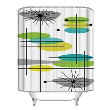 Mid Century Modern 44 Waterproof Polyester Fabric Bathroom Shower Curtain 71x72