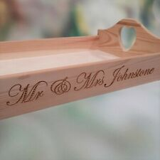 Personalised Wooden Serving Tray Display Wedding Heart Handles Confetti Tray