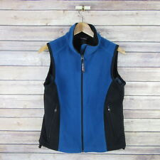L.L. BEAN Women's Zip Front Zip Pockets Fleece Vest S Small Blue Blacl