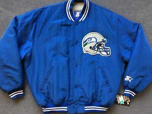 NWT 90s vtg Seattle Seahawks STARTER satin jacket varsity bomber jersey L XL