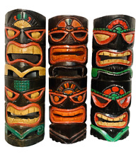 Tribal Tiki Mask Wooden Wall Hanging Plaque Hand Carved Painted Gloss 40cm
