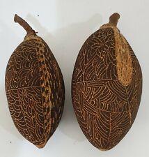 2 X Aboriginal Carved Boab Nuts, 15cm & 16cm