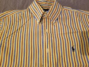 Mens Polo Ralph Lauren Dress Shirt S Small Yellow Button Cotton