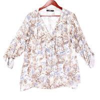 BKE Boutique Women's Beige Paisley V-Neck Button Up Shirt Top - Size Large
