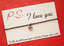 P.S. I Love You Heart Charm Wish Friendship Bracelet Gift & Envelope