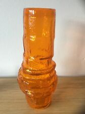 whitefriars tangerine hoop vase in perfect condition, designed by geoffrey baxte