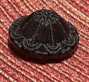 Cone shaped black glass button Imitation fabric, Box Shank, Antique