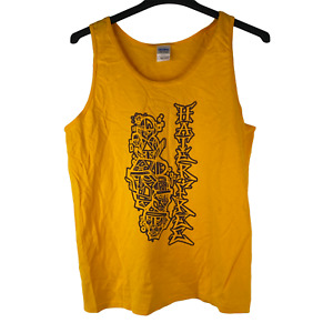 Hater Free Gildan Mens Size Large Yellow Ultra Cotton Graphic Tank Top Preshrunk